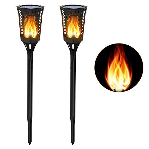 (Slopehill Solar Flickering Flames Torches Lights- Dusk to Dawn, Waterproof Outdoor Decor with 96LED Lights, Dancing elf Tiki Torch, Decor Lighting for Garden, Patio, Deck, Yard, Path, Driveway, 2 Pack)
