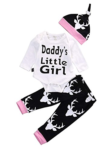 Younger Tree 3Pcs Newborn Infant Toddler Baby Boy Girl Clothes Outfit Long Sleeve Daddy's Little Girl Romper+Deer Pants +Hat Set (White, 0-6 (Daddys Little Girl Romper)