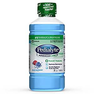 Pedialyte AdvancedCare Electrolyte Solution with PreActiv Prebiotics, Electrolyte Drink, Blue Raspberry, Liquid, 1-L, 8 Count