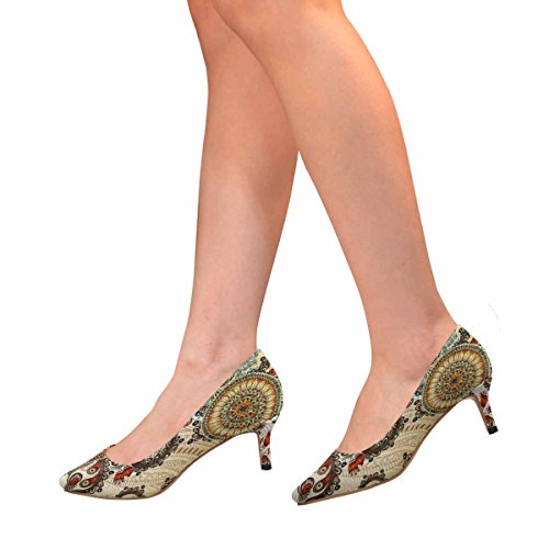 Shoes Flowers Low Multi Cucumbers Kitten Womens 1 Dress Heel Pump Pointed Toe Doodles and InterestPrint za8wqCC