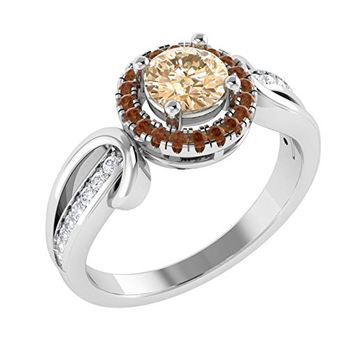 (100% Real Diamond Engagement Rings For Women Natural Diamond & Morganite Rings 10K White Gold Real Diamond Rings 1/6 Ct I2-I3-HI Diamond Rings)