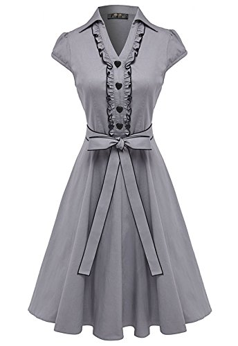 Lucy Van Pelt Dress (Anni Coco Women's 1950s Cap Sleeve Swing Vintage Party Dresses Stretchy Grey Medium)