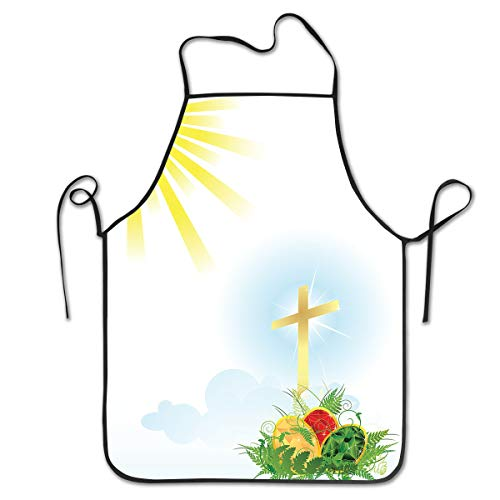 King Fong Easter Cross Eggs Funny Aprons for Women Mens Kitchen Aprons for Chef Waiter Cooking Baking Crafting Gardening -