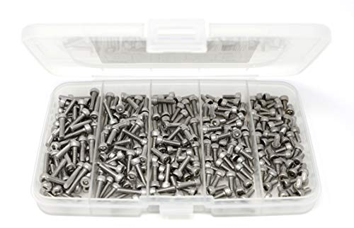 iExcell 250 Pcs M3 x 6mm / 8mm / 10mm / 12mm / 16mm Stainless Steel 304 Hex Socket Head Cap Screws Bolts Assortment
