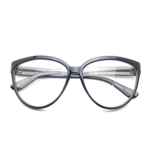 Womens Oversize Retro Nerd Clear Lens Fashion Cat Eye Geek Glasses - Glasses Brand Geek
