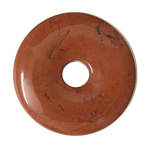 Natural 40mm Gemstone Crystals Agate Jasper Reiki Healing Chakra Donut Pendant Bead DIY Jewelry Accressory Necklace Kit (Flame Jasper)