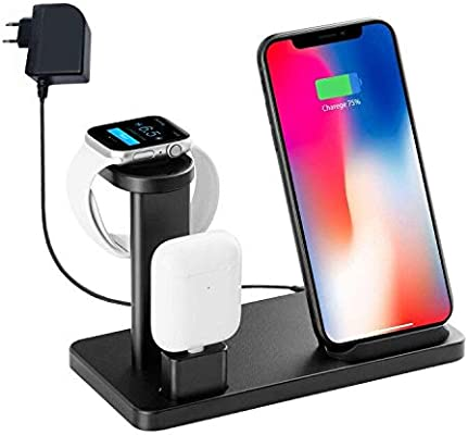 Soporte de Cargador inalámbrico para Iwatch, YOMENG 10W Qi Fast Charging Station 3 en 1 Base de Aluminio para Apple Watch Series 5 4 3 2 1 e iPhone 11 ...