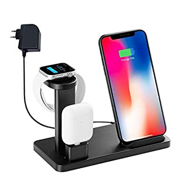 Soporte de Cargador inalámbrico para Iwatch, YOMENG 10W Qi Fast Charging Station 3 en 1 Base de Aluminio para Apple Watch Series 5 4 3 2 1 e iPhone 11 ...
