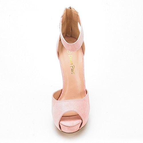 Paires De Rêve Femmes Swan-05 Talon Haut Plaform Robe Pompe Chaussures Rose