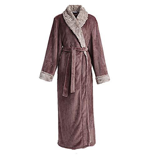 Sintética Cuello Mujer De Pijamas Para Bata 1pcs Piel Pink Franela vaT4pWq