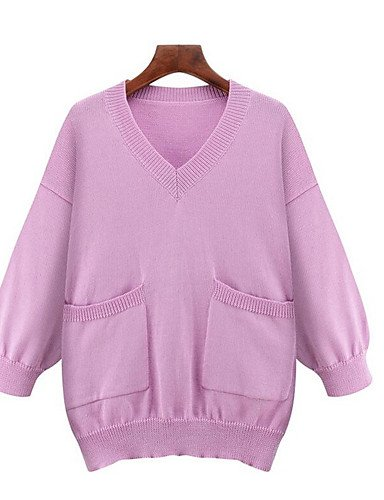 BaiChunYunYi Damen Standard Pullover-Übergröße Einfach Solide V-Ausschnitt 3 4 Ärmel Baumwolle Herbst Winter Mittel Mikro-elastisch