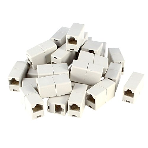 uxcell Off White Dual Connector RJ45 Modular Network Coupler Adapter 20 - Reach Pc Cat5