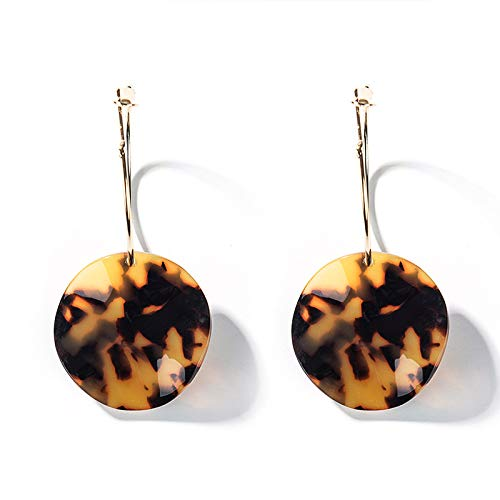 J Meng Acrylic Drop Earring Circle Textured Mottled Disc Pendant Earrings for Women Girls