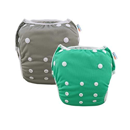 Alva Baby Reusable Swim Diapers Boys One Size Adjustable 2pcs SWB29-30 Grey and Green