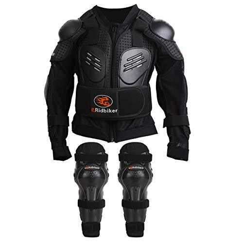 RIDBIKER Kids Youth Armor Protective Armor Suit for Child Dirt Bike Chest Spine Protector Back Shoulder Arm Elbow Knee Pad Body Armor Vest,Black (XXS)