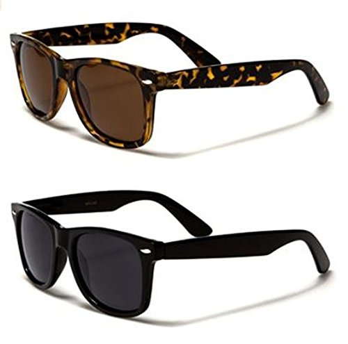 Retro Rewind Classic Polarized Wayfarer Sunglasses 2-Pack Black & - 2 Sunglasses Wayfarer