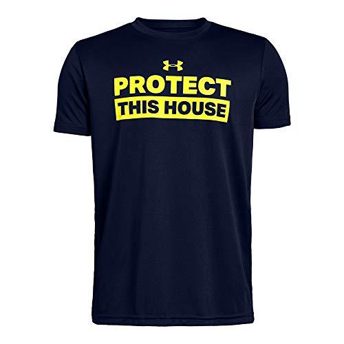 Under Armour Boys' Protect This House Short Sleeve T-Shirt, Academy (408)/High-Vis Yellow, Youth Medium