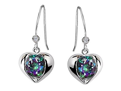 (Star K Round 6mm Mystic Rainbow Quartz Heart Hook Earrings Sterling Silver )