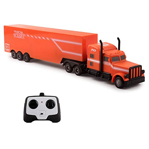 Vokodo RC Semi Truck and Trailer 18 Inch 2.4Ghz Fast Speed 1:16 Scale Electric Hauler Rechargeable Remote Control Kids Big Rig Toy Carrier Vehicle Cargo Transporter Great Gift for Children Boys Girls (Rc Trucks With Trailer)