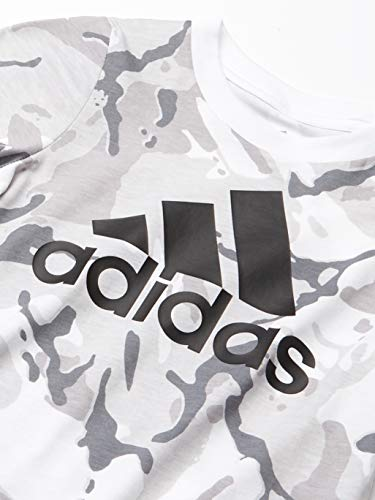 adidas Boys' Short Sleeve Cotton Jersey Logo T-Shirt Tee, Classic Camo White, Small