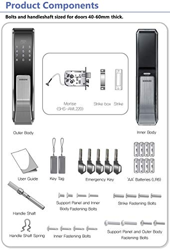 Samsung SHS-P717-LMK Push Pull Touchscreen Digital Door Lock, Code and RFID Entry, Small Mortise (AML-220)