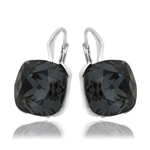 black and crystal drop earrings - 4