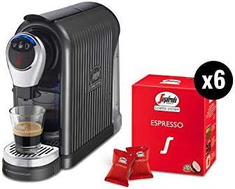Segafredo Zanetti Coffee System – Macchina per Caffè Espresso 1 Plus Grigia, Compatta, Intuitiva ed Elegante con 60 Capsule Espresso Originali Segafredo, Aroma Equilibrato e Cremoso