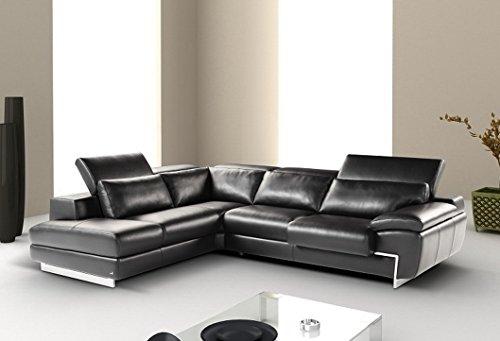 Oregon II Black Italian Leather Left Hand Facing Sectional Sofa