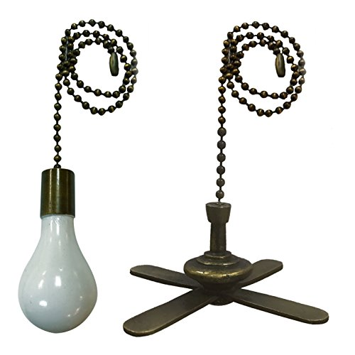 Ceiling Fan Pull Chain (Royal Designs Fan Pull Chain – Fan and Light Bulb – Antique Brass – Set of 2)
