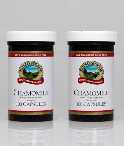 Naturessunshine Chamomile Nervous System Support Herbal Dietary Supplement 250 mg 100 Capsules (Pack of 2)