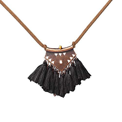 (BRBAM Refined Bohemian Style Tassel Necklace Tassel Pendant Leather Chain Sweater Necklace for Women (Black))