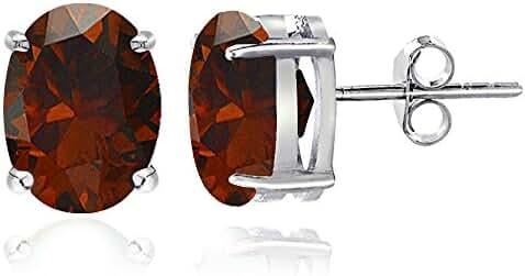Sterling Silver Garnet Oval Stud Earrings, All Sizes