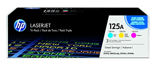 HP 125A (CE259A) Cyan, Magenta & Yellow Original Toner Cartridges, 3 Cartridges