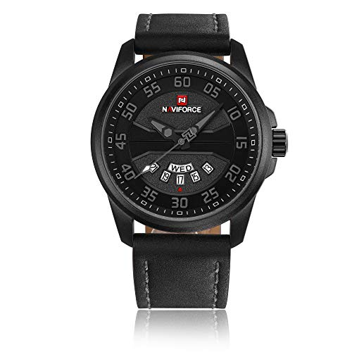 Beauty7 Men Black Quartz Analog Wrist Watch 3D Embossed Dial 3ATM Waterproof Thick Genuine Leather Band Strap Date Calendar Window Fashion Military Sports Business Casual