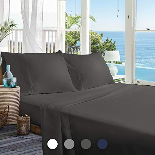 BedStory Bed Sheets Set 4 Piece, Ultra Soft Full Bedding Sheets Set with Premium Microfiber - 1 Deep Pocket Fitted Sheet, 1 Flat Sheet & 2 Pillowcases - Wrinkle Fade Stain Resistant