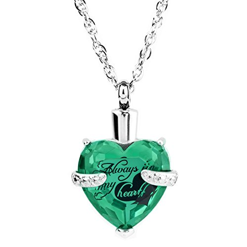 IMEIM Glass Cremation Jewelry Always in My Heart Birthstone Pendant Urn Necklace Ashes Holder Keepsake by May(Emerald) ()