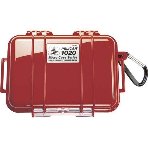 Pelican 1020 Watertight Hard Micro Case with Rubber Liner - Red