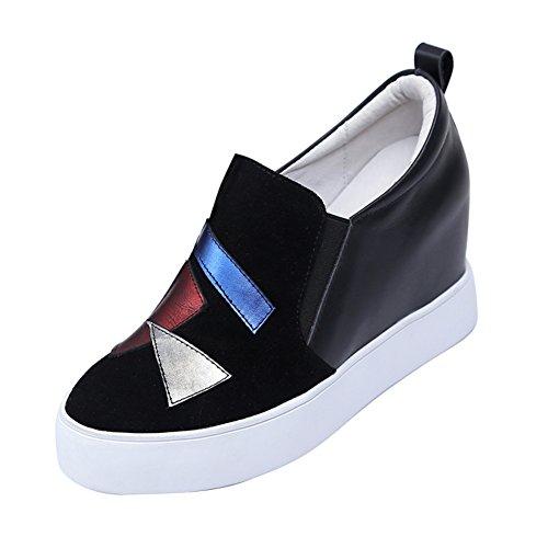 PUMPS Verdicken Sie Plateauschuhen,Slipsole Dünne Schuhe,Leder Freizeitschuhe,Inner-Erhöhung Damenschuhe A