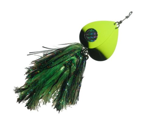 Musky Double Cowgirl Bait, 10-Inch, 2.8-Ounce, Black/Chartreuse