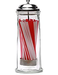 """Circleware 66793 Retro Old Fashioned Glass Straw Dispenser Holder with Metal Lid and Red & White Beverage Drinking Tubes Included, Holds Pencils and Chopsticks, 10.8"""" H x 4.1"""" W, Vintage Utensil Jar"""