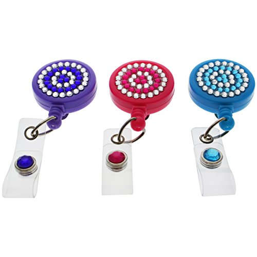 - 3 Pack - Cute Retractable Reel ID Card Badge Holders - Crystal Rhinestone Design with Metal Slide Belt Clip on Back by Specialist ID (Assorted Colors)