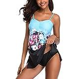 Qisc_Holiday Choices Women One Piece Swimdress Tummy Control Swimwear Slimming Skirt Swimsuits Bathingsuit Dress Blue