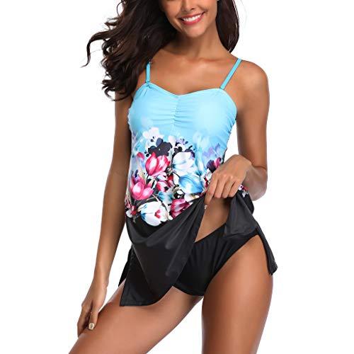 - Sunhusing Womens Large Size High Waist Conservative Print Swimming Skirt Push-Up Padded Bra Two-Piece Swimsuit
