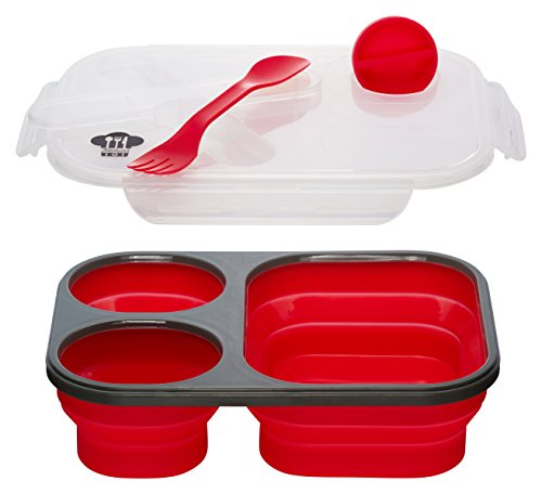 (Kitchen Pro 101 Expandable & Collapsible Silicone School Lunch Box for Girls & Boys - 3 compartment Bento Box for Kids/Adults with Lid - As Seen On TV (Red))