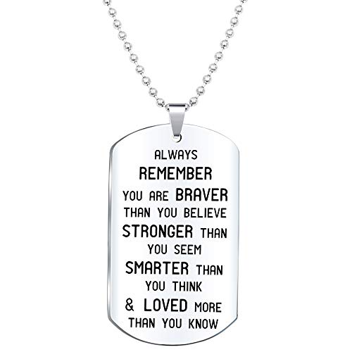 Elegant Chef Inspirational Jewelry Necklace- Always Remember You are Braver Than You Believe- Gift for Men Women
