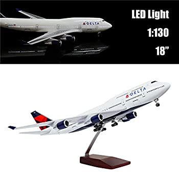 "Image of 24-Hours 18"" 1:130 Airplane Scale Model Delta Boeing 747 with LED Light(Touch or Sound Control) for Decoration or Gift Home and Kitchen"