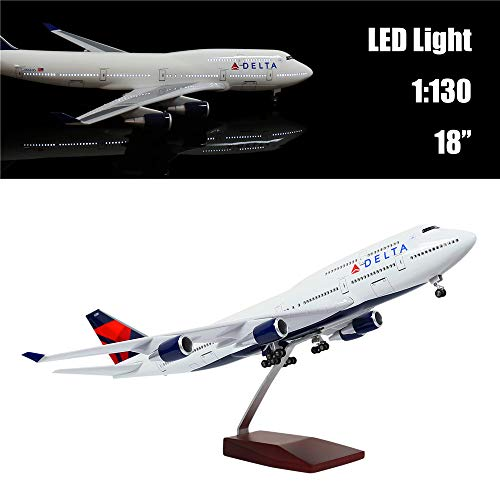 "24-Hours 18"" 1:130 Airplane Scale Model Delta Boeing 747 with LED Light(Touch or Sound Control) for Decoration or Gift"