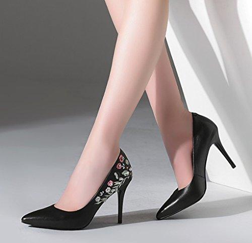 Chaussures sexy Mode Chaussures mouth Couleur Shallow talon haut pour femmes en véritable taille cuir 38 simples Rose brodé talons Noir printemps hauts pXxw6nn