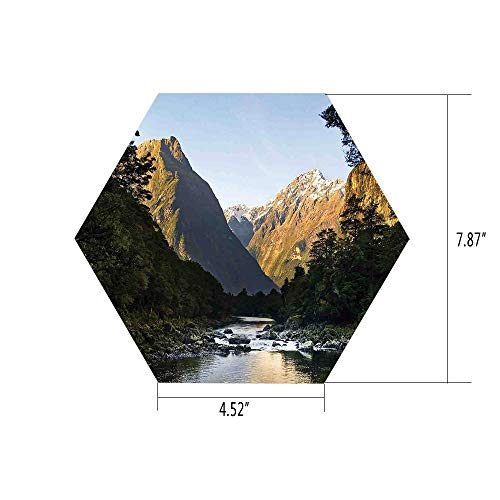 iPrint Hexagon Wall Sticker,Mural Decal,Apartment Decor,Photo of Stunning Mountains with Snowy Peaks and Valley with River Peace Nature,Blue Grey Green,for Home Decor 4.52x7.87 10 Pcs/Set