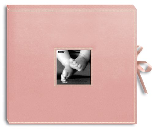 Pioneer 12 Inch by 12 Inch D-Ring Sewn Leatherette Scrapbook Box, Baby Pink (Baby Girl Scrapbook)